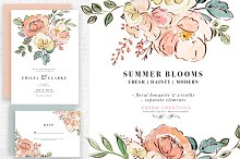 Summer Blooms Watercolor Florals PNG