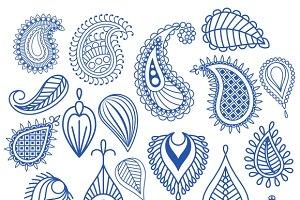 Oriental leaf doodles. Paisley
