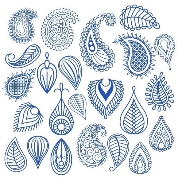 Oriental leaf doodles. Paisley - Graphics