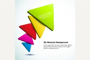 Colorful 3D triangle background.