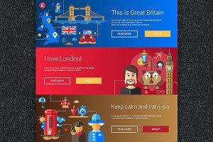 England Flat Design Banners Set