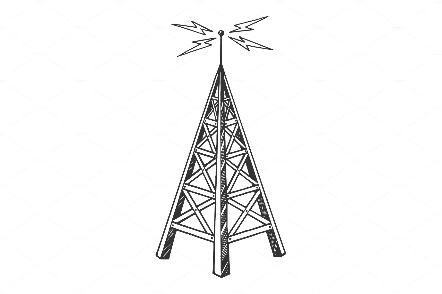 Old radio tower sketch engraving
