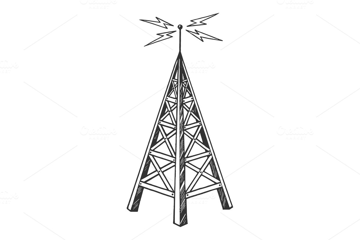 Old radio tower sketch engraving