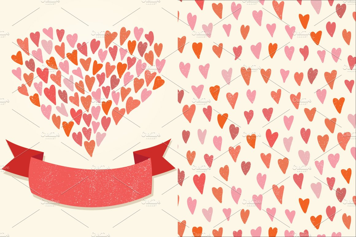 Hearts Pattern And A Greeting Card Graphic Patterns Creative Market