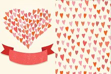 Hearts pattern and a greeting card
