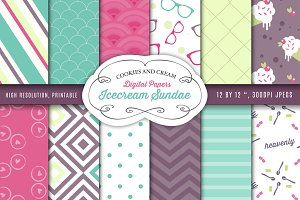 Icecream Sundae Digital Papers