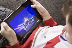 watching a disney movie on a tablet