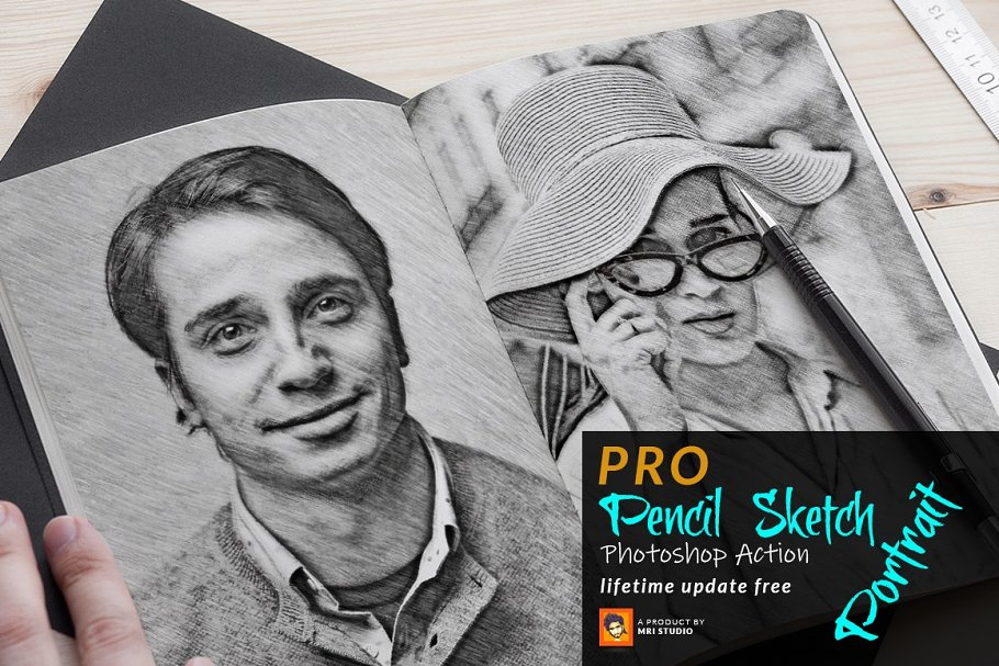 Pencil Sketch Portrait PS Action