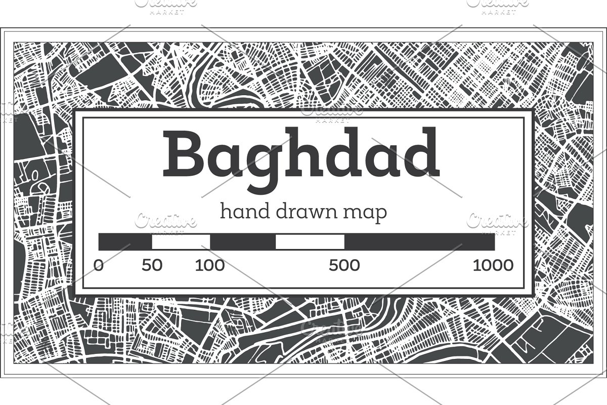 Baghdad Iraq City Map in Retro Style