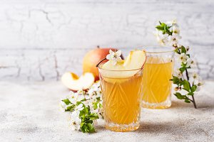 Glasses with fresh apple juice