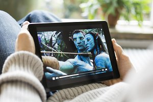 watching a movie on a tablet pc