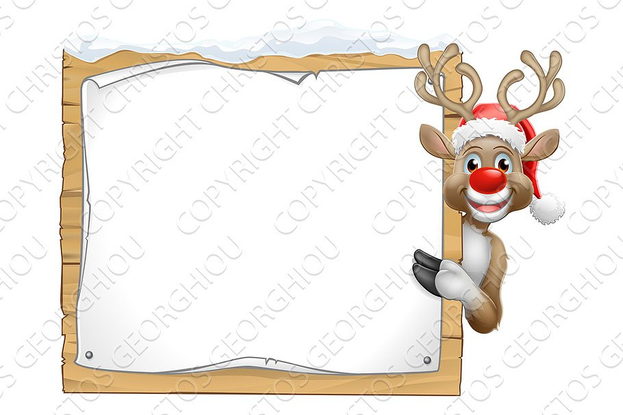 b5e3ab4b88678 Reindeer in Santa Claus Hat ~ Illustrations ~ Creative Market