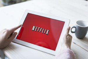 Netflix logo on tablet pc