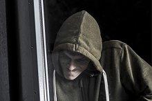 Hooded burglar