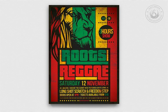 c0311e41 Roots Reggae Flyer Template ~ Flyer Templates ~ Creative Market
