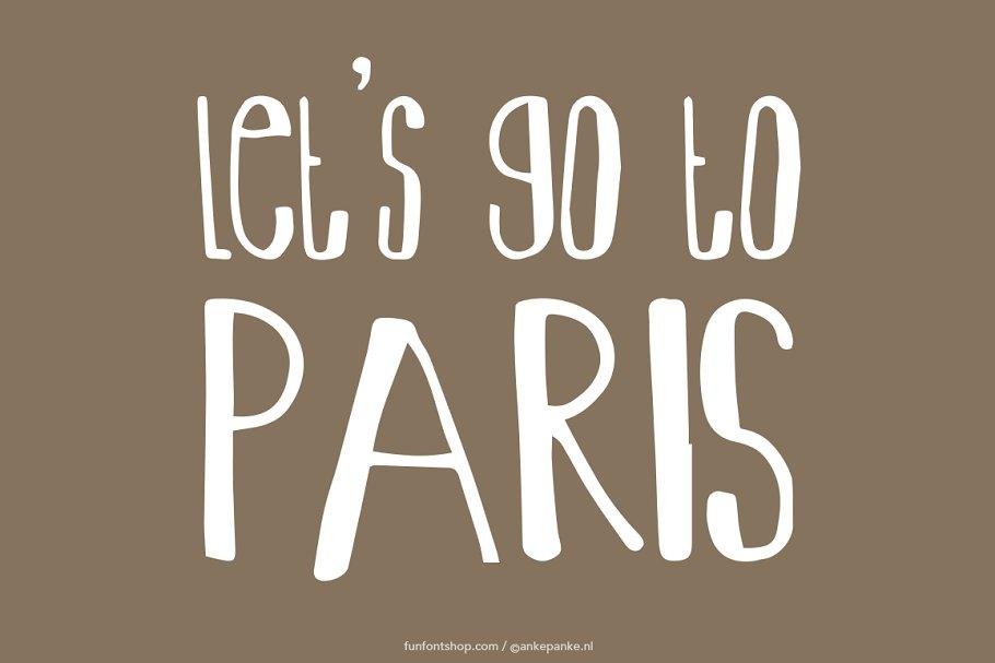 Let's go to Paris handmade Font