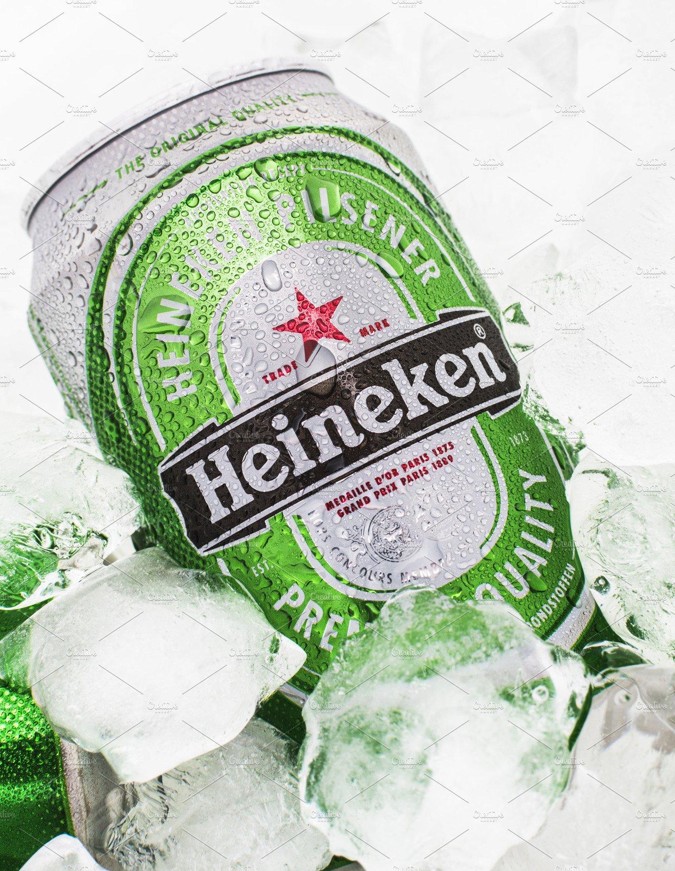 Heineken Beer Can On Ice Photos Creative Market