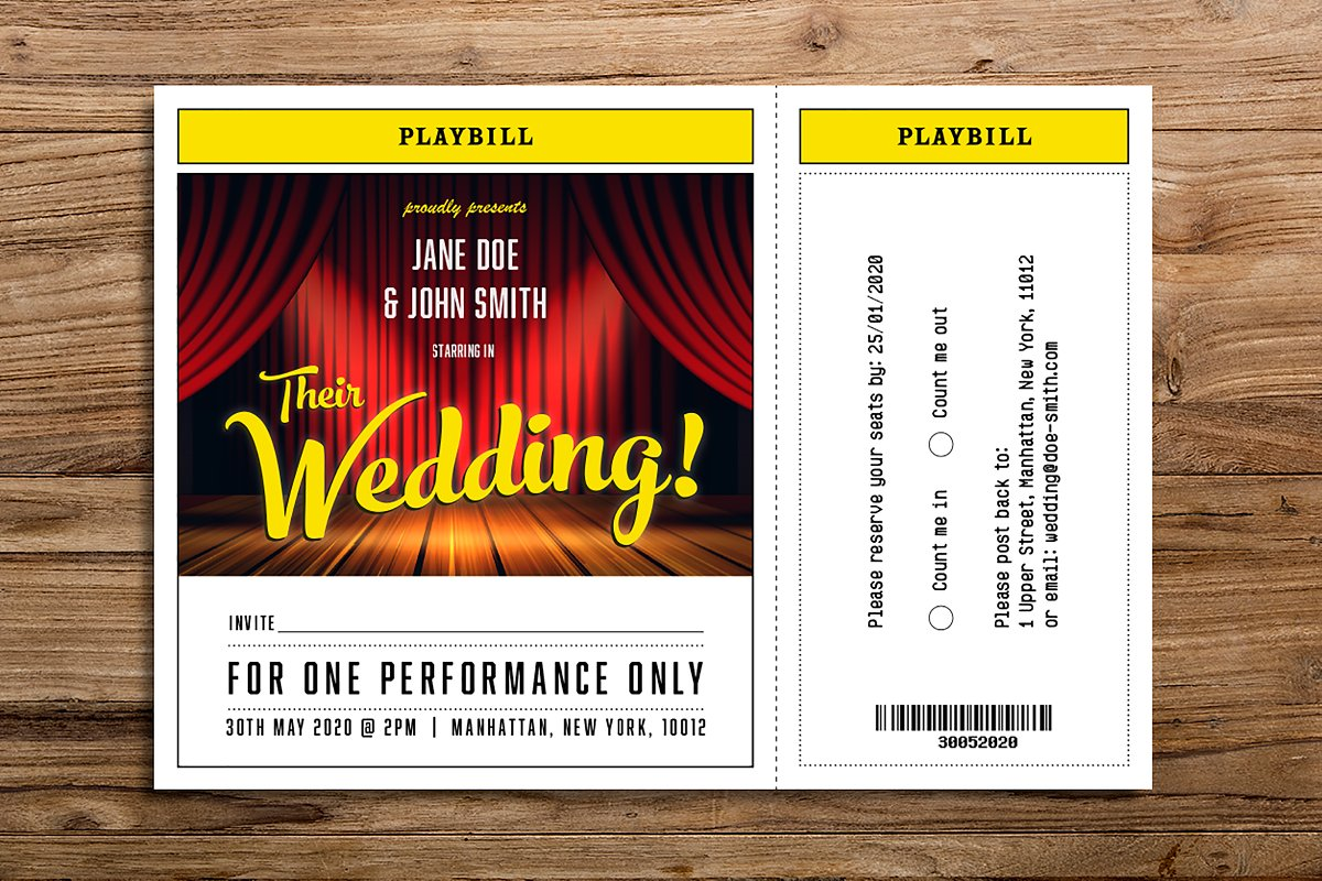 Theatre themed wedding invitation