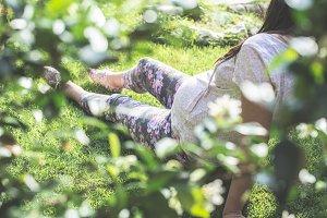 Pregnant women in the garden