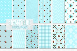 12 Shabby Chic Rose digital paper