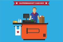 Supermarket Cashier, flat