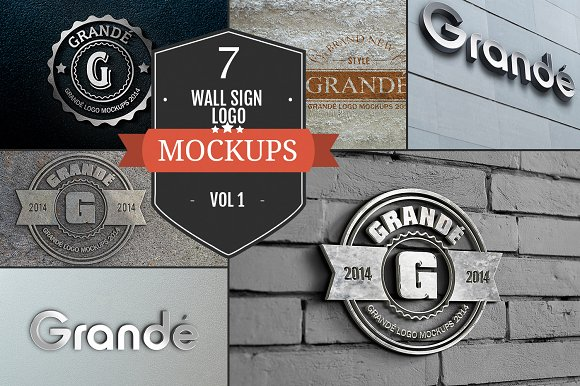 7 Wall Sign PSD Logo Mockups Vol. 1 - Product Mockups