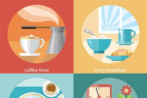 Set of Breakfast Time Concepts