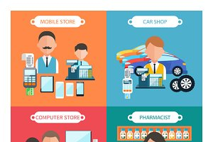 Car, Mobile, Pharmacist and Store