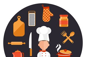 Kitchen Utensils with a Chef
