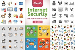 Internet Security Icons and Pattern