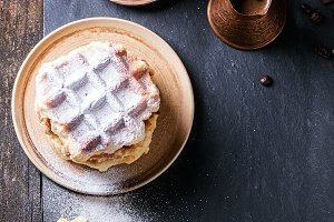 Belgian waffles with coffee