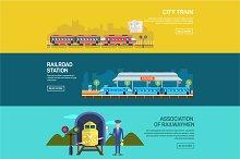 Railway design concept set banners