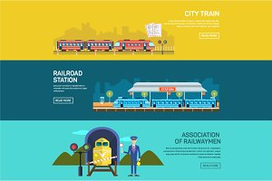 Railway design concept set banners