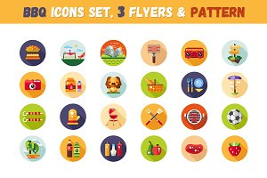BBQ Icons Set + 3 Flyers & Pattern