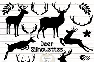 Vector deer silhouettes cliparts
