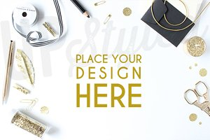 A129 Gold Desk Stock Photo Mock Up