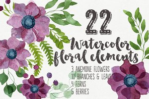 22 Watercolor Floral Elements