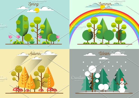 Landscapes at different seasons ~ Illustrations on ...