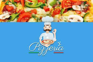 Pizzeria - Mustachioed Italian Logo