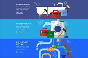 Plumbing repair, vector