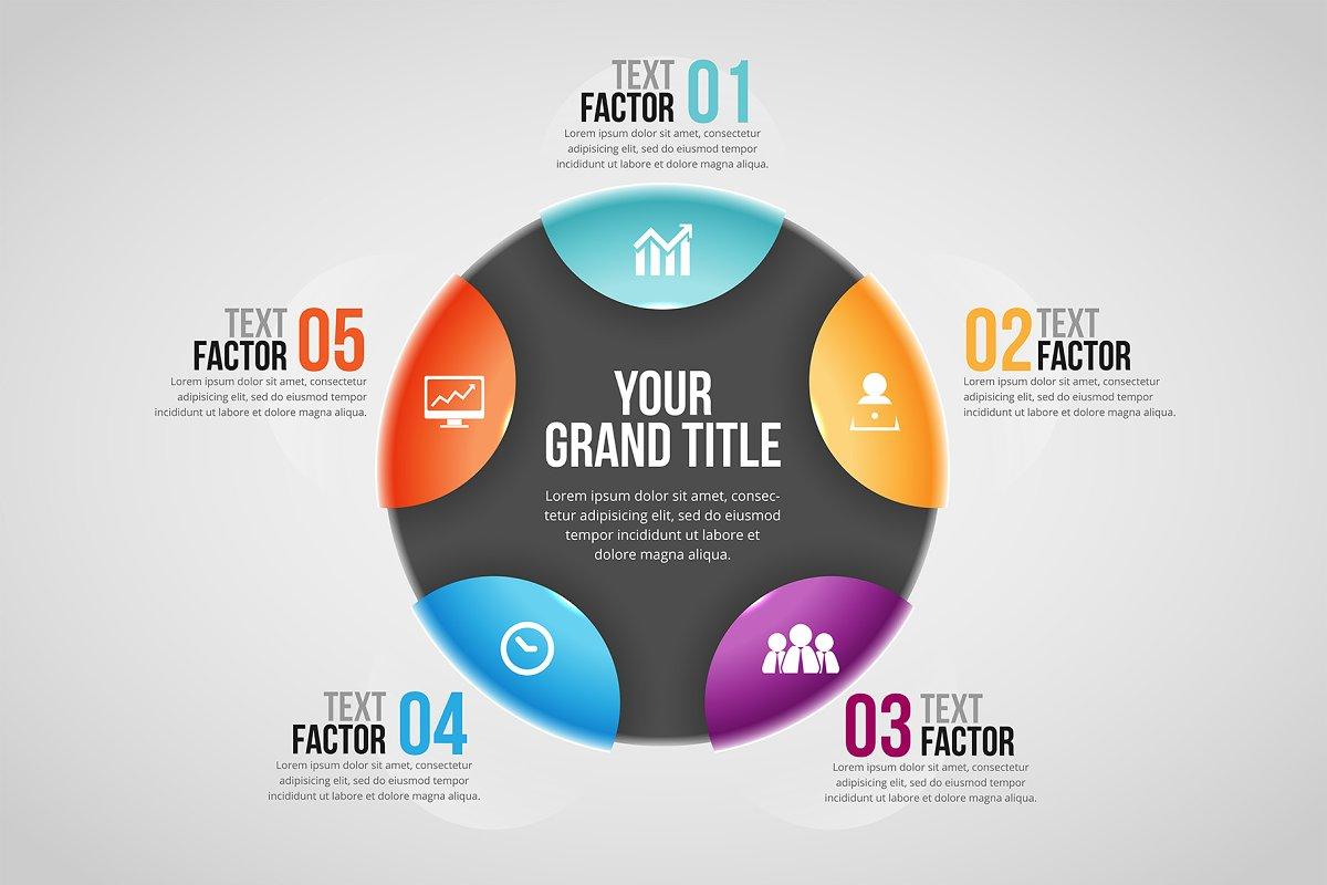 Glossy Flip Circle Infographic