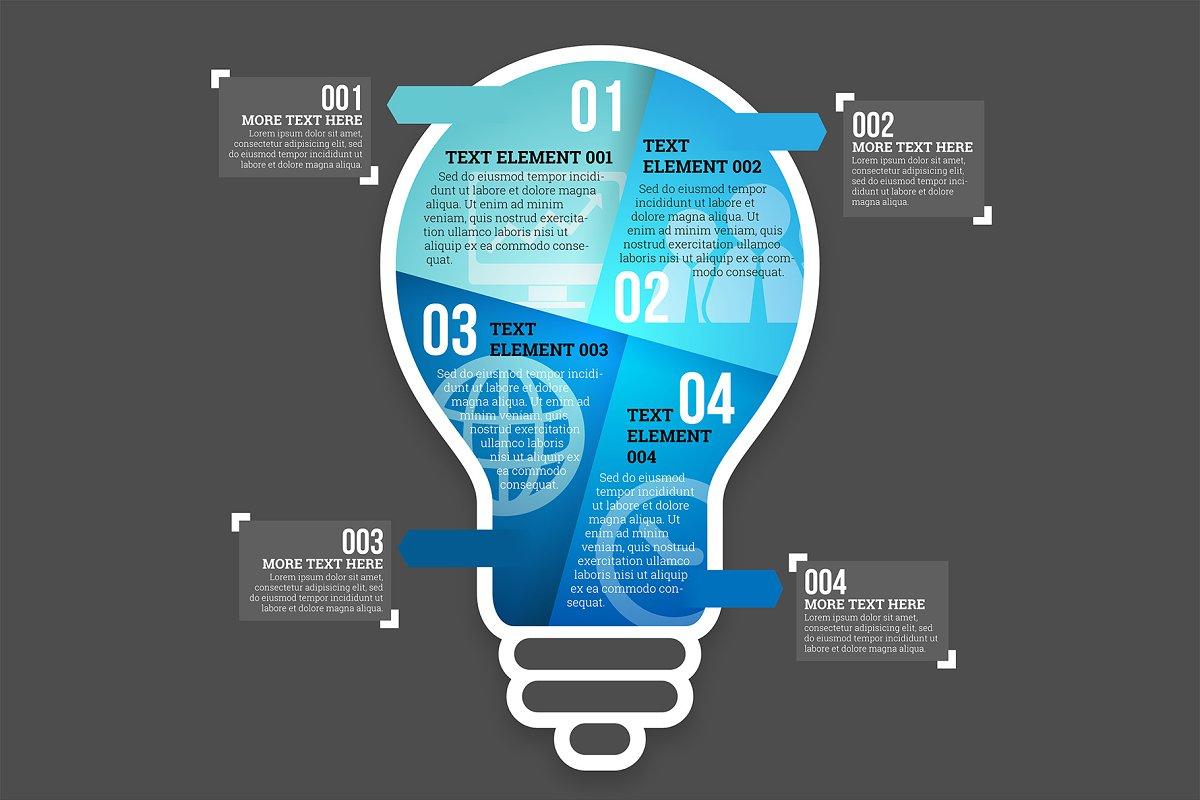 Four Part Lightbulb Infographic