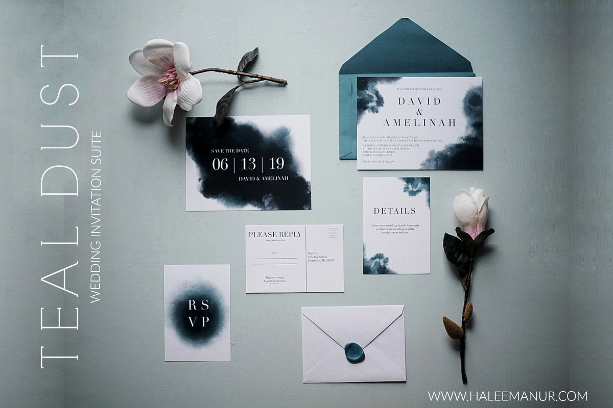 Teal Dust- A Wedding Invitation Sui