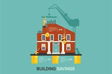 Building savings. Vector infographic