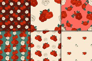 Six seamless patterns with roses
