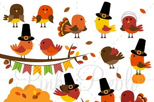 Thanksgiving Birds Clipart & Vectors
