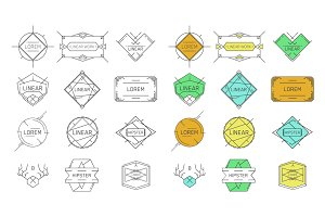 Line hipster emblems and badges.