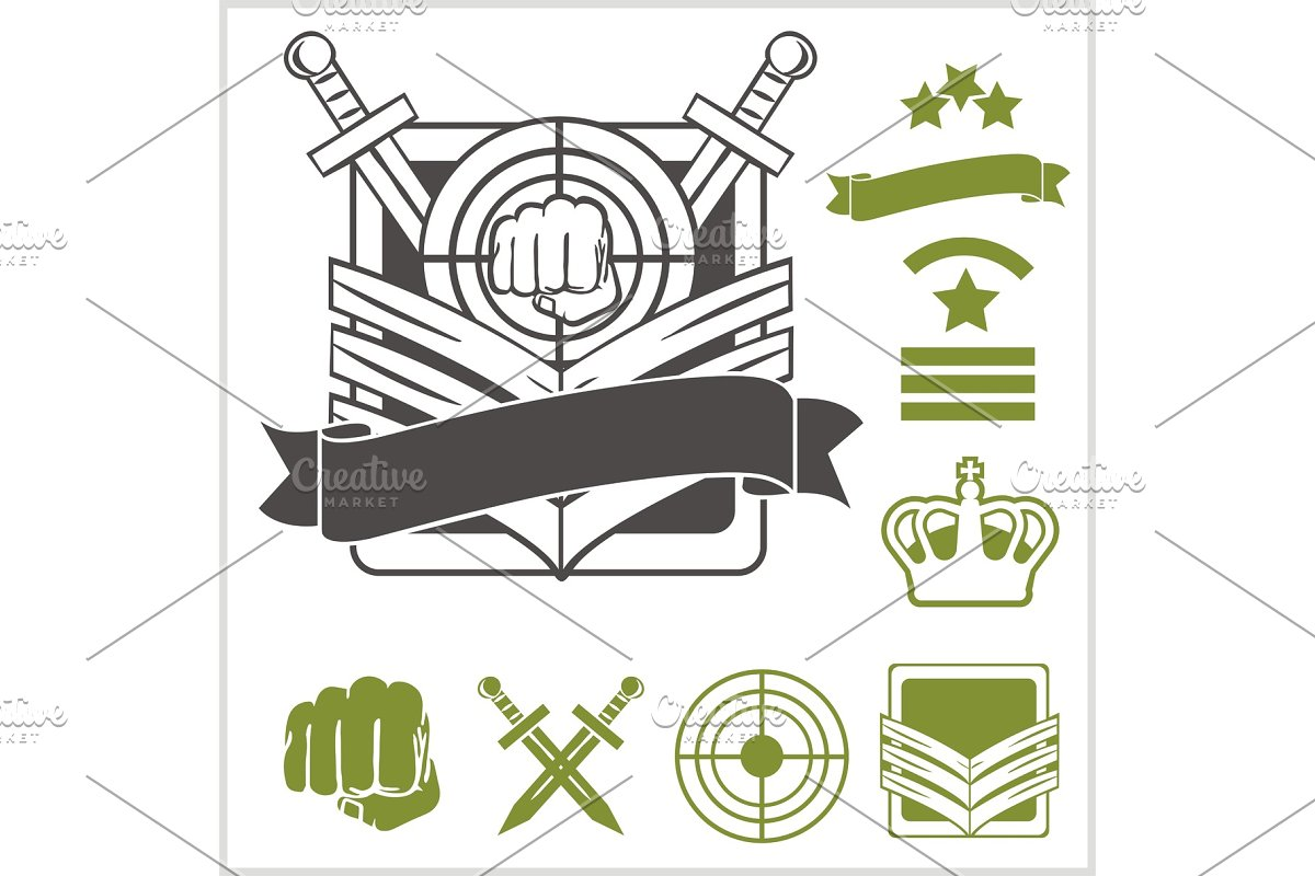 Special unit military patches in Illustrations - product preview 8