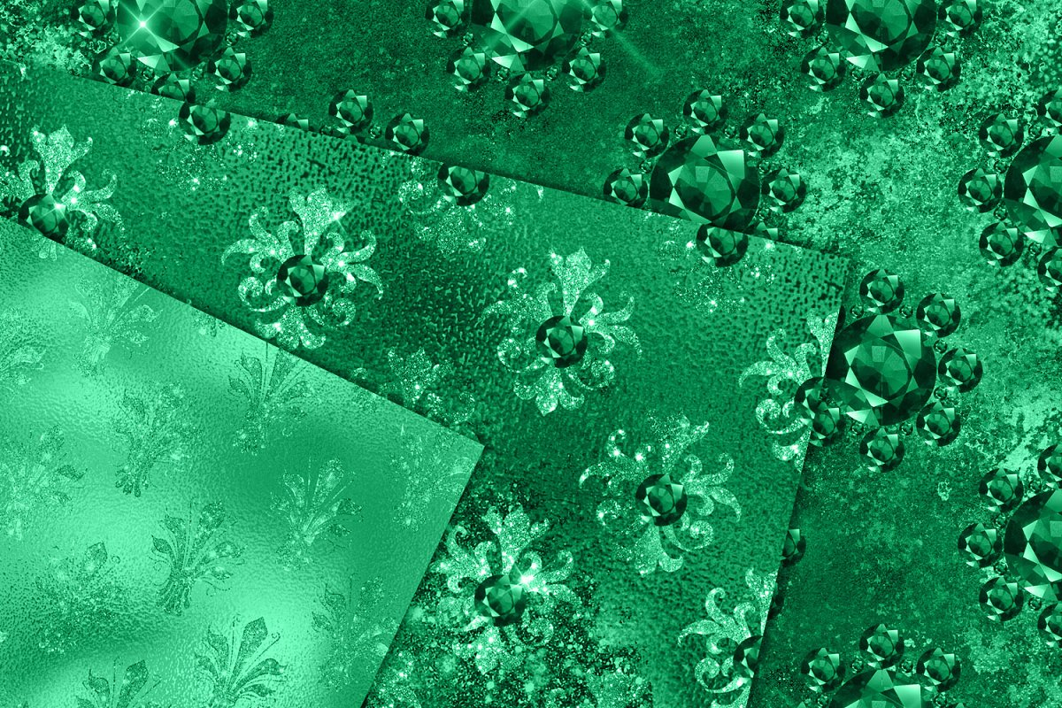 Emerald Jewels Digital Paper in Textures - product preview 1
