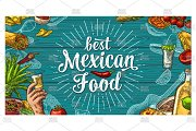Mexican food lettering engraving